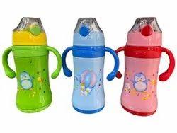 Screw Cap Blue Glass Kids Water Bottle, Capacity: 450ml