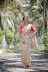 Zari White And Red Party Wear Designer Soft Silk Saree, 6.3 M ( With Blouse Piece)