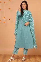 Janasya Women's Turquoise Cotton Kurta With Pant And Dupatta(SET277)