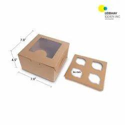 4 Cup Cake Box (Top Window) 7 x 7 x 4 Inch