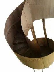 Brown Mezzanine Floor Wooden Staircase