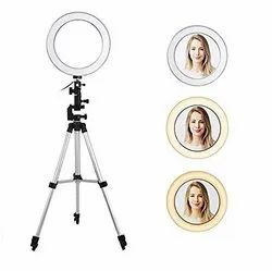 White 10 Inches LED Ring Light With 7 Feet Tripod