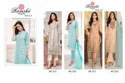 Georgette Party, Festival Ank Enterprise Heavy Embroidered Designer Salwar Kameez Pakistani Suit