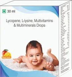 Lycopene, L-lusine, Multivitamin & Multiminerals Drops