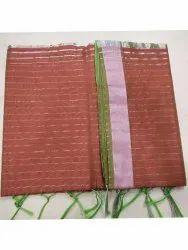Printed Orange Pure Chanderi Silk Saree, 5.5 m (separate blouse piece)