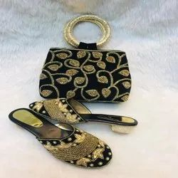 New Printed Black And Gold Shoes And Bag For Women And Girl