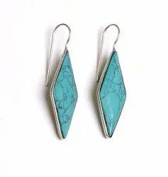 Green Quartz Turquoise Gemstone Silver Plated Women Earrings