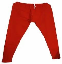 Strechable Red Lycra Cotton Leggings, Size: Medium