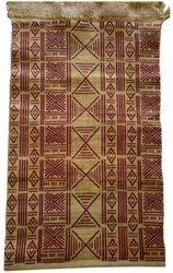 Brown Silk Printed Handloom Durries