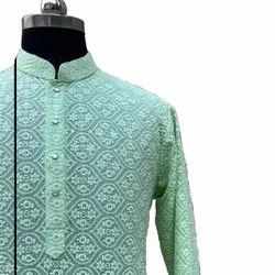 Georgette Gents Unstitched Kurta Fabric, Traditional, White