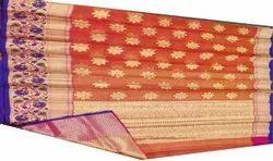 Ladies Orange Pathney Silk Saree, 6.3 m (with blouse piece)