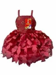 Satin and Net Party Wear Girls Maroon Frock, Age Group: 3 Year