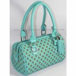 Oriental Overseas Sea Blue Engraved Real Leather Handbag GN5002