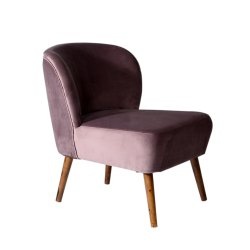 Modern Purple Pink Velvet Upholstered Chair Living Room Chair, Back Style: High Back, 65cm X 75cm X 80cm