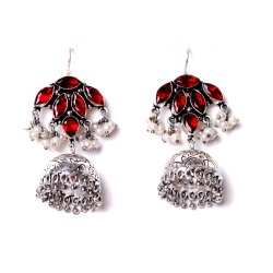 Multi Gemstone Oxidized Designer Jhumka Earrings Women Jewelry