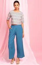 Janasya Women's Cream Cotton Flex Top With Palazzo (J0346)