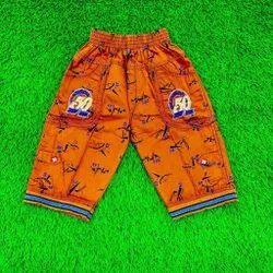 Kids Orange Cotton Capri