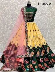 Ank Enterprise Satin Silk Embroidered Wedding Collection  Lehenga Choli