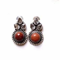 Goldstone Gemstone Designer Earrings