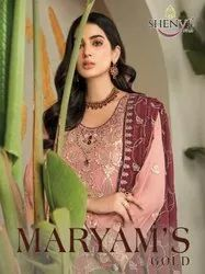 Shenyl Fab Maryams Gold Georgette With Embroidery Pakistani Suit Catalog