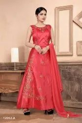 Multicolor 3 Piece Embroidery Gown With Dupatta By Parvati Fabrics Ltd