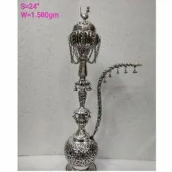 Antique Silver Plated Hookah For Decoration, Use & Corporate Gift.