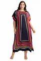 Calf Length Boat Neck Style Women Satin Silk Printed Kaftan