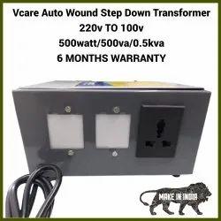 Dry Type 50Hz Vcare Auto Wound Step Down Transformer, Input Voltage: 220V, 0.5kVA