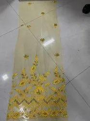 Net Yellow Flower Desgin Fabric, Floral