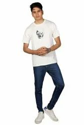 Round Half Sleeve Mens White Cotton T Shirt