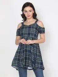 Western Wear Multicolor Digital Printed Fancy Designer Stitched Crepe Top Dress For Women
