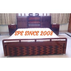 Teak Wood Cot Bed With Head Box