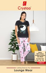 Crystaa Half Sleeve Women Nightwear Round neck short slv., Size: s to xxl