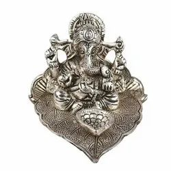 Silver Plated Ganesha On Leaf Statue For Home Decoration & Corporate Gift