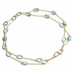 Blue Topaz Gemstone Gold Plated Women Necklace
