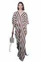 Striped Printed Ankle Length Satin Silk Kaftan For Women