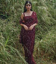 MAHAKALI FAB Party Wear Lehenga Sarees, With Blouse Piece, 5.5 m (separate blouse piece)