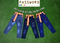 Party Wear Printed Kids Denim Jeans, Size: 20-30, Dry clean