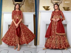 Heavy Embroidery Gown Net Vipul Fashion Zaina 4626 Long Dress, Round, Size: Semi Stitched