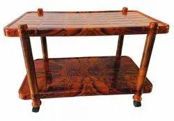 Shubh Brown Plastic Trolley Table