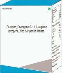L- Carnitine, Coenzyme Q-10, L- Arginine Lycopene, Zinc & Piperine Tablets