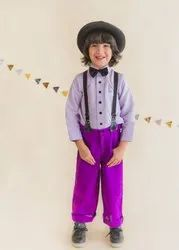 2-12 Years Cotton Linen Gallice Shirt Pant with Bow Tie Boys Dress, Size: 28.0