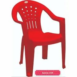 Red Molded Plastic Arm Chair