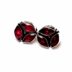 Garnet Gemstone Designer Stud Earrings
