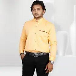 Cotton Twill Light Orange Fashion Aex Branded Casual Wear Plain Shirt