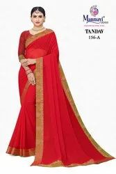 Manmayi Creation Party Wear Red Lace Work Pure Chiffon Saree, With Blouse Piece, 6.3m