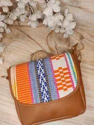 Brown Leather Jacquard Sling Bag, 0.5, Size: 8*7*3