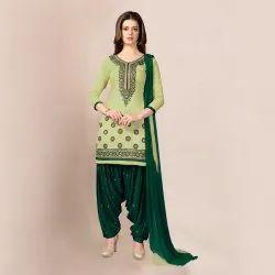Casual Wear Unstitched Nivah Fashion Cotton Embroidery Punjabi Patiala Suit, Handwash