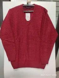 100% Acrylic Full Sleeves INDLON Mens Self-Design Maroon V Neck Sweater