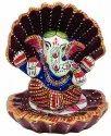 Nirmala Handicrafts Exporter Metal Embossed Handwork Seep (Shell) Blessing Ganesha Gift Idol